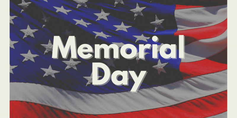 Memorial Day text on American flag background